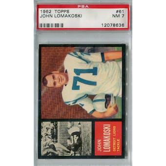 1962 Topps Football #61 John Lomakoski SP PSA 7 (NM) *8636