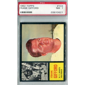 1962 Topps Football #104 Frank Gifford PSA 7 (NM) *0621