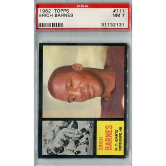 1962 Topps Football #111 Erich Barnes PSA 7 (NM) *2131