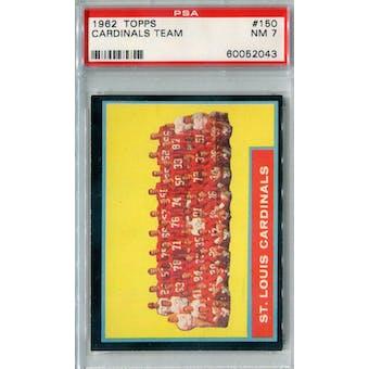 1962 Topps Football #150 St. Louis Cardinals PSA 7 (NM) *2043
