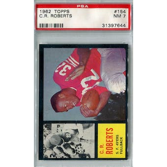 1962 Topps Football #154 C.R. Roberts SP PSA 7 (NM) *7644