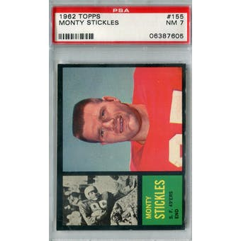 1962 Topps Football #155 Monty Stickles PSA 7 (NM) *7605