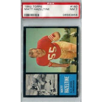 1962 Topps Football #160 Matt Hazeltine PSA 7 (NM) *3856