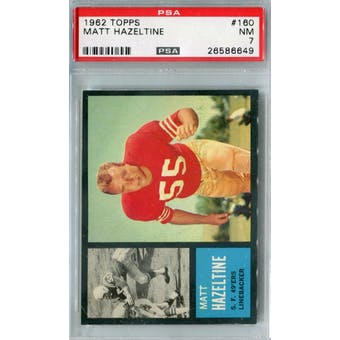 1962 Topps Football #160 Matt Hazeltine PSA 7 (NM) *6649