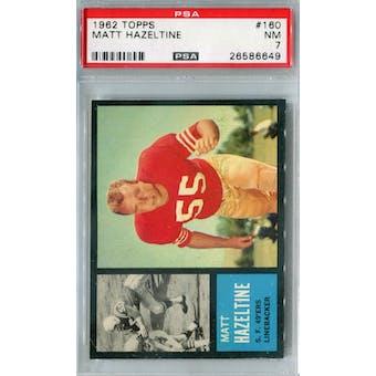 1962 Topps Football #160 Matt Hazeltine PSA 7 (NM) *6649