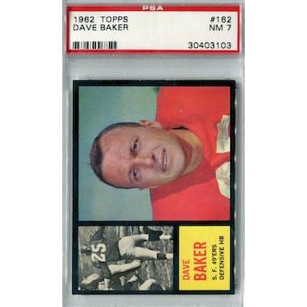 1962 Topps Football #162 Dave Baker PSA 7 (NM) *3103
