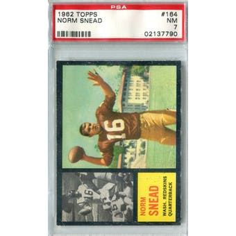 1962 Topps Football #164 Norm Snead RC SP PSA 7 (NM) *7790