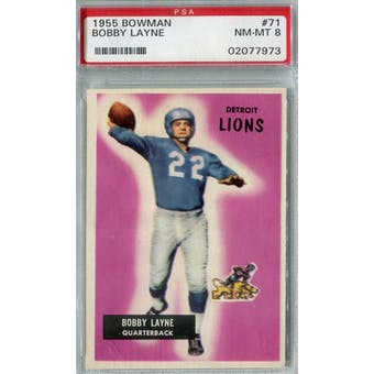 1955 Bowman #71 Bobby Layne PSA 8 (NM-MT) *7973