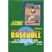 1991 Score Series 1 Baseball Wax Box (Reed Buy)
