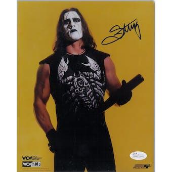 Sting WWE Steve Borden Autographed 8x10 Long Wrestling Photo (JSA COA)