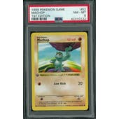 Pokemon Base Set 1st Edition Shadowless Machop 52/102 PSA 8