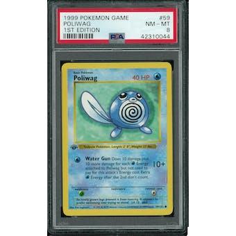 Pokemon Base Set 1st Edition Shadowless Poliwag 59/102 PSA 8