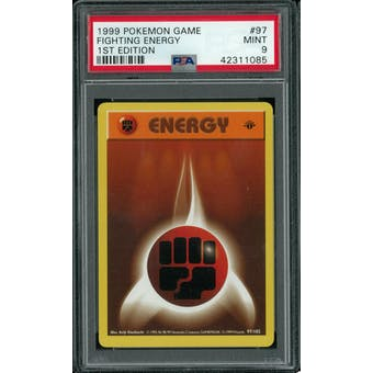 Pokemon Base Set 1st Edition Shadowless Fighting Energy 97/102 PSA 9