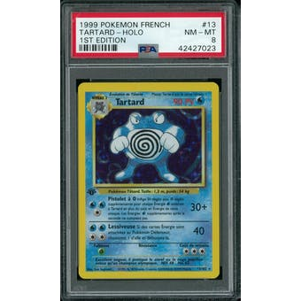 Pokemon Base Set 1st Edition FRENCH Poliwrath Tartard 8/102 PSA 8 Holo Bleed