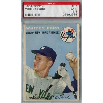 1954 Topps Baseball #37 Whitey Ford PSA 5.5 (EX+) *2985