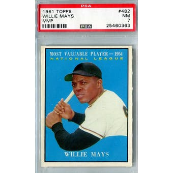 1961 Topps Baseball #482 Willie Mays MVP PSA 7 (NM) *0363