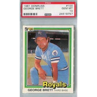1981 Donruss Baseball #100 George Brett PSA 10 (Gem Mint) *9757