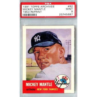 1991 Topps Archives Baseball #82 Mickey Mantle '53 Reprint PSA 9 (Mint) *5687