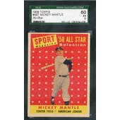 1958 Topps Baseball #487 Mickey Mantle AS SGC 60 (EX) *4038