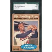 1962 Topps Baseball #394 Hank Aaron AS SGC 86 (NM+) *6180