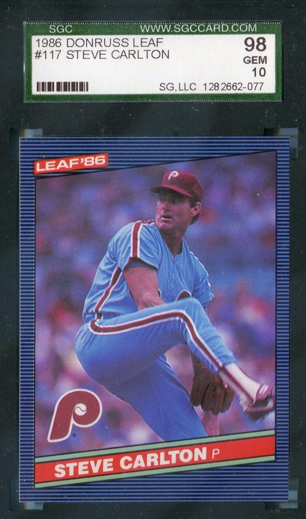 1986 Leaf Baseball 117 Steve Carlton Sgc 98 Gem 2077