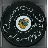 Bobby Hull Autographed Chicago Black Hawks Hockey Puck HOF 83 (Hull COA)