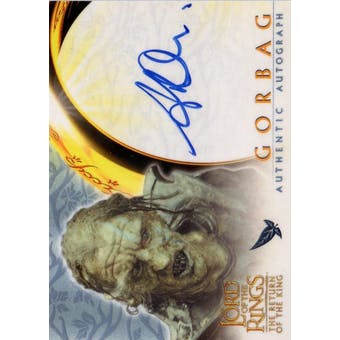 Lord of the Rings Return of the King Stephen Ure Gorbag Autographed Card (Topps 2003) (Reed Buy)