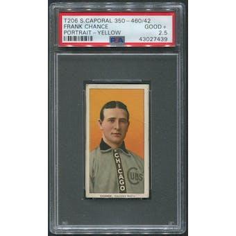 1909-11 T206 Baseball Frank Chance Portrait Yellow Sweet Caporal 350-460/42 PSA 2.5 (GOOD+)