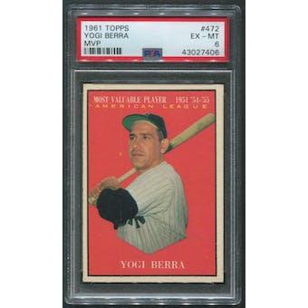 1961 Topps Baseball #472 Yogi Berra MVP PSA 6 (EX-MT)