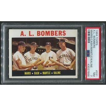 1964 Topps Baseball #331 A.L. Bombers Mickey Mantle PSA 7 (NM)