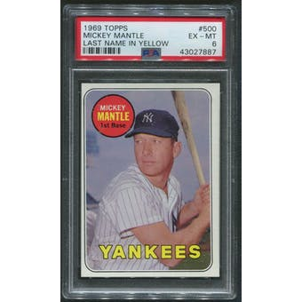 1969 Topps Baseball #500 Mickey Mantle Last Name In Yellow PSA 6 (EX-MT)