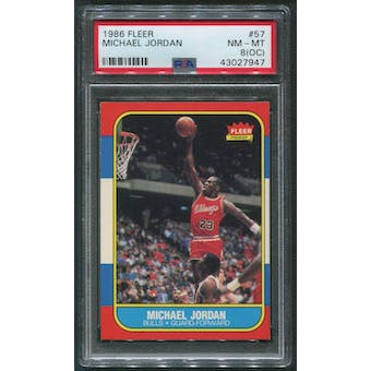 1986/87 Fleer Basketball #57 Michael Jordan Rookie PSA 8 (NM-MT) (OC)