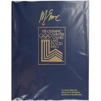 Mike Eruzione Autographed Miracle On Ice 1980 Lake Placid Olympics Official Results Book (Blue)