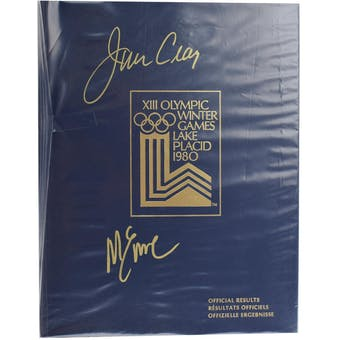 Jim Craig & Mike Eruzione Autographed Miracle On Ice 1980 Lake Placid Olympics Official Results Book (Blue)