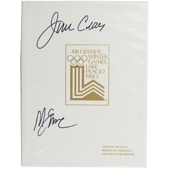 Jim Craig & Mike Eruzione Autographed Miracle On Ice 1980 Lake Placid Olympics Official Results Book (White)