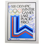 Miracle on Ice Team Autographed Lake Placid Olympic Rings Poster 14 autos