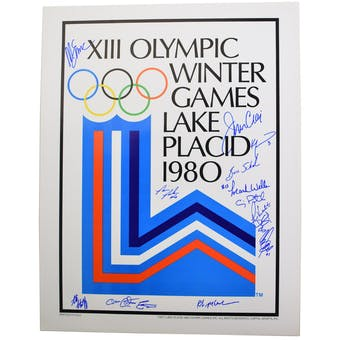 "Miracle on Ice Team Autographed 1980 Lake Placid Olympics ""Olympic Rings"" Poster with 14 Autographs"