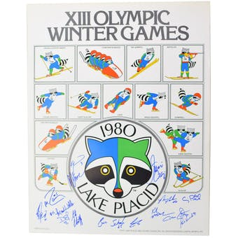 USA Miracle on Ice Team Autographed 1980 Lake Placid Olympics Raccoon Poster with 15 Signatures
