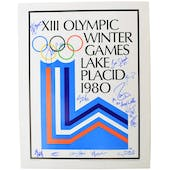 Miracle on Ice Team Autographed Lake Placid Olympic Rings Poster 15 autos