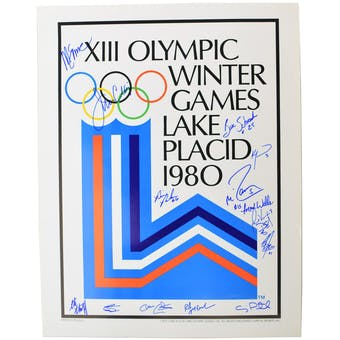 USA Miracle on Ice Team Autographed 1980 Lake Placid Olympics Rings Poster with 15 Signatures