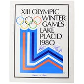 Jim Craig and Steve Janaszk Autographed Lake Placid Olympic Rings Poster Department of Defence