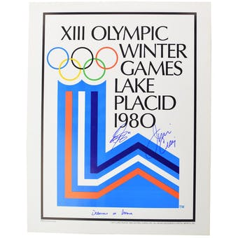 Jim Craig & Steve Janaszk Autographed Miracle On Ice 1980 Lake Placid Olympics Poster (Department of Defense)