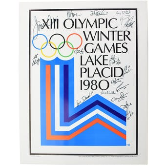 """Miracle on Ice Team Autographed 1980 Lake Placid Olympics """"Olympic Rings"""" Poster with 17 Autographs"""