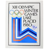Jim Craig Autographed Rings Poster Lake Placid Olympic Blue Sharpie