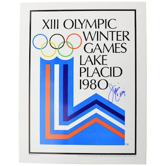Jim Craig Autographed Miracle On Ice 1980 Lake Placid Olympics Rings Poster (Blue Signature)