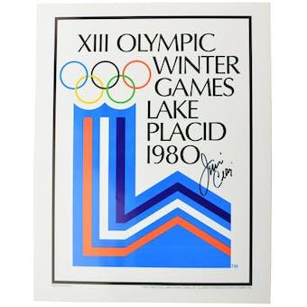 Jim Craig Autographed Miracle On Ice 1980 Lake Placid Olympics Rings Poster (Black Signature)