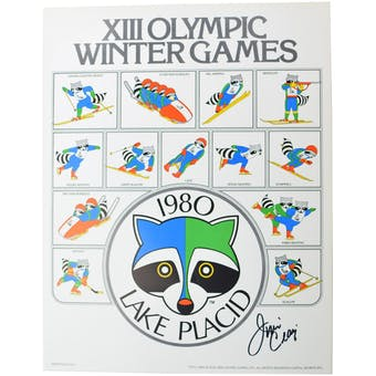 Jim Craig Autographed Miracle On Ice 1980 Lake Placid Olympics Racoon Poster
