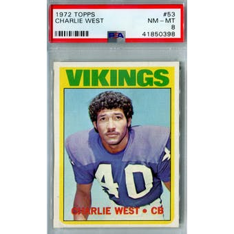1972 Topps Football #53 Charlie West PSA 8 (NM-MT) *0398 (Reed Buy)