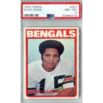 1972 Topps Football #237 Dave Lewis PSA 8 (NM-MT) *6774 (Reed Buy)
