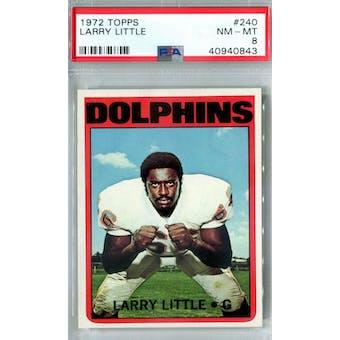 1972 Topps Football #240 Larry Little RC PSA 8 (NM-MT) *0843 (Reed Buy)